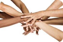 photo of many pairs of hands meeting in middle
