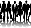 Silhouette image of various people