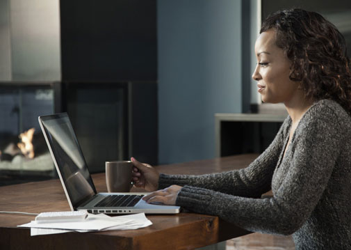 black woman at laptop
